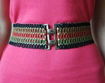 Women's  Waist Belt,  Stretch Belt, Multicolour Elastic Belt, Belt 1980s