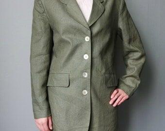 Vintage Women's  Linen Jacket, Green Linen Blazer, Classic Long Linen Jacket, Longsleeves Blazer