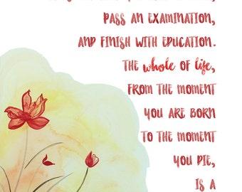 Process of Learning, Jiddu Krishnamurti, Life Lesson, Wall Art, Print, Download, Digital, Watercolor, Dorm Room Art