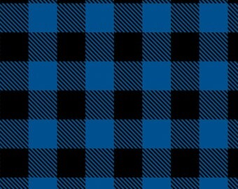 """Blue Buffalo Plaid Flannel from Camelot Fabrics, Cotton, Fabric, rag quilt, black, by the, metre, yard, lumberjack, 1 inch squares, 1"""""""
