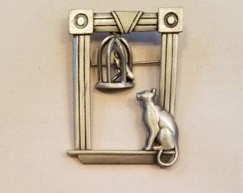 """Sweet """"Kitty in a Window"""" JJ Pewter Pin"""