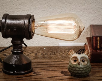 Industrial iron pipe lamp; pipe lamp; edison table lamp; antique edison lamp; vintage edison lamp;