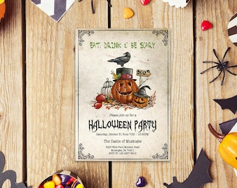 Halloween word invite_5,INSTANT DOWNLOAD - Edit Yourself in Word. Template Editable Text Microsoft Word.DIY You Print.