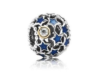Authentic Pandora NIGHT SKY STARS Two Tone 14k Charm Bead