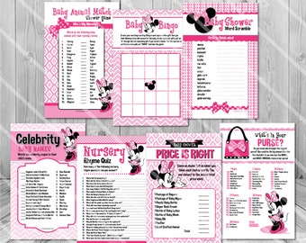 Minnie Mouse Baby Shower Games, Girl Baby Shower Games Girl, Pink Baby Shower Game Package Minnie Baby Shower Games DIY Printable Game Pack