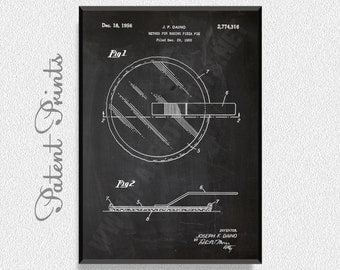 Baking Pizza Pie Patent Print, Kitchen Wall Decor, Kitchen Wall Art, Restaurant Decor, Dining Room Wall Decor, Pizza Party Decorations