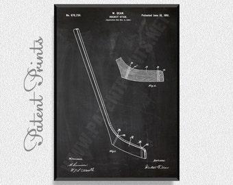 Hockey Stick 1901 Patent Print, Hockey Poster, Sports Poster, Hockey Blueprint, Hockey Print, Sports Print