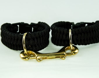 Black Paracord Cuffs with brass fittings