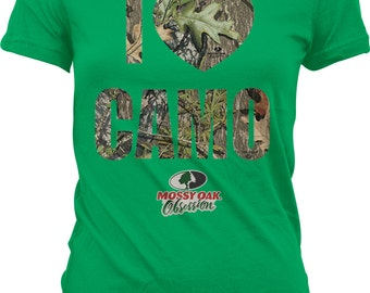 I Love Camo, I Heart Camo, Mossy Oak Obsession Camouflage Juniors T-shirt, NOFO_00817