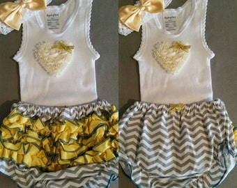 yellow and grey ruffle