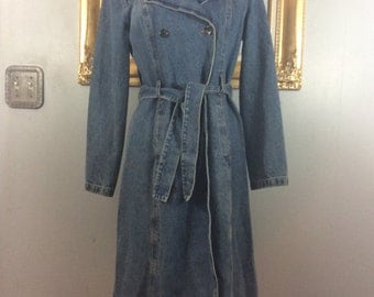 1980's Denim Coat with Double lapel and Belt by Moda International