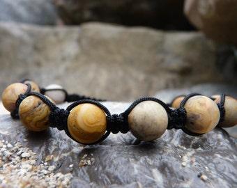 Frosted Picasso Jasper Shamballa Bracelet.Black Macrame.Meditation Stone.Free shipping only USA