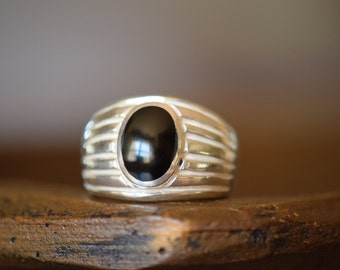 Mens Vintage Silver 925 Black Onyx Gemstone Ring, US Size 10.5, Used