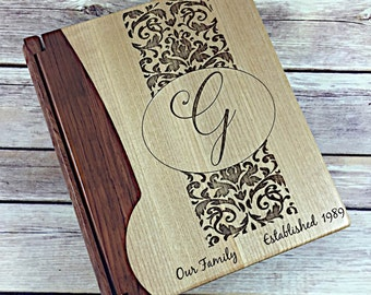 Personalized Wooden Photo Album - Customized Wooden Photo Album - Family Photo Album - Engraved