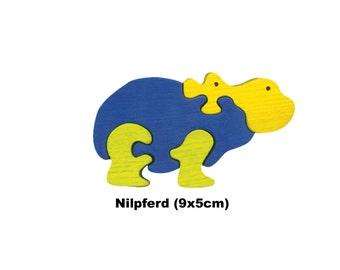Mini Puzzle  Hippopotamus / Handmade / Animals / Wooden toys / Zoo / Africa / Waldorf / Montessori