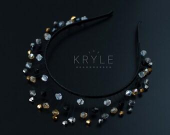 leather headband, ramadan,  black crown, black headdress, diadem, crystal tiara, black silver, leather hair accessories, black headpiece