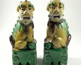Foo Dogs China Matching Pair Biscuit Glaze c. 1960s