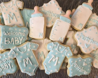 Baby shower favor baby boy or girl sugar cutout cookie