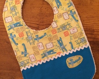 Baby Prop-Plane Bib, Blue Baby Bib, Yellow Bib, Baby Shower Gift Boy, Baby Bib, Airplane Baby Bib, Baby Boy, Blue and Yellow Bib, Plane Bib
