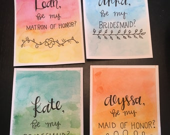 Bridesmaids Watercolor Original Cards