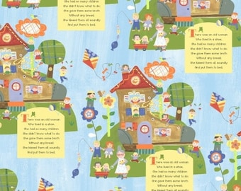 Nursery rhyme fabric - Mother goose fabric - Baby fabric - 100% Cotton fabric - Quilting fabric - Childrens fabric - blue cotton - kids