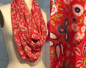 Floral scarf flower scarf floral infinity scarf Red scarf red floral faux silk infinity scarf