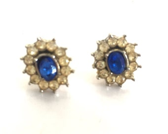 Vintage Blue and Clear Rhinestone Pierced Earrings