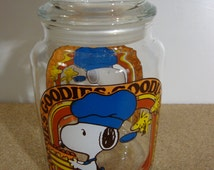 Vintage Snoopy Goodies Jar with Lid 1965 Retro Peanuts Glass Container Blue Hat and Apron Cookie Jar Woodstock Charles Schulz