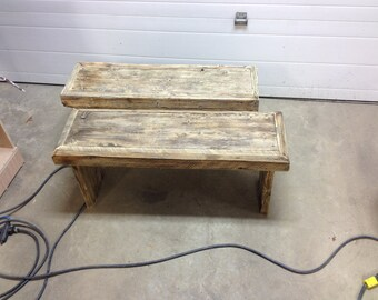 Custom reclaimed wood benches
