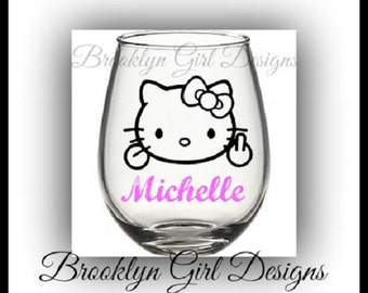 Personalized Hello Kitty w/Finger 21oz Stemless Wine Glass..Great for Bachelorette Parties, Birthdays..Any Name..Makes a Great Gift
