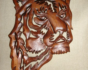 Wooden tiger, Tiger, Wood carving tiger, Handmade tiger,  Carving wall tiger,  For men Tiger, Tiger wood