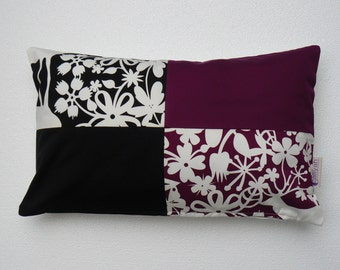 Black and Purple Handmade Decorative Pillow Cover/Case, Flowery abstract design pillow cover - Unique - COLLECTION EDEN