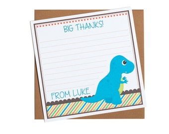 Personalised Dinosaur Thank You Notes