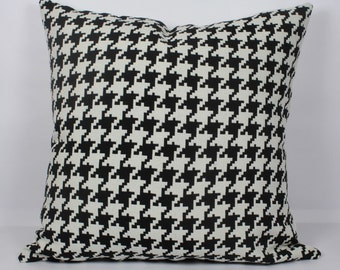 Decorative houndstooth pillow cover 18x18 handmade cushion geometric pillow 16x16 outdoor pillow 20x20 black white pillow 22x22 throw pillow