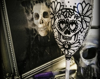 Handpainted skull, Colour Your Own, Mexican Day Of The Dead wineglass, plastic/polycarbonate, unbreakable