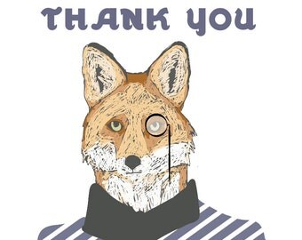 THANK YOU Card: Monocle Wearing Fox