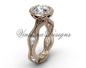 14kt rose gold diamond engagement ring VF301003