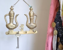 Brass Key Holder Turkish Coffee Pots, Decorative Hanger with Teapots, Hooks for Keys, Coffee Lover or Tea Lover Gift, Boho Home Decor