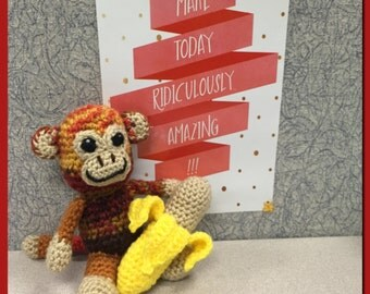 Crocheted Amigurumi Monkey with Banana