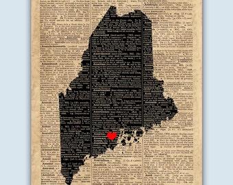Maine Print, Maine Map, Maine Wall Art, Maine Gift, Wedding Gift, Jefferson Maine Print, Maine Decor Poster, Established Sign
