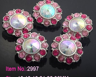 Wholesale AB Iridescent Rhinestone Buttons W/ Pink & Hot Pink Surrounding Rhinestones Acrylic Buttons DIY Embellishments 25mm 2997 14 24 26R