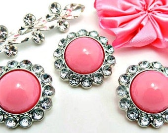 SHINY PINK Pearl Rhinestone Acrylic Buttons W/ Crystal Clear Surrounding Rhinestones Brooch Bouquet Coat Buttons 26mm 3185 37P 2R