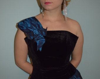 vintage 80s velvet taffeta prom mini dress
