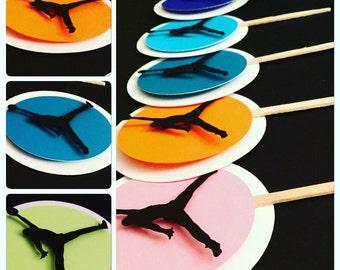 12 Jumpman cupcake toppers Jordan cupcake toppers Nike cupcake toppers Nike Birthday Nike Theme