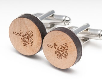 Cherry Blossom Wood Cufflinks Gift For Him, Wedding Gifts, Groomsman Gifts, and Personalized