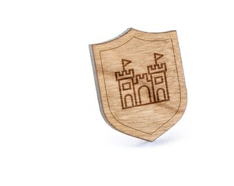 Sandcastle Lapel Pin, Wooden Pin, Wooden Lapel, Gift For Him or Her, Wedding Gifts, Groomsman Gifts, and Personalized