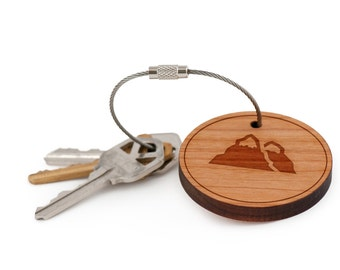 Mountain Keychain, Wood Keychain, Custom Keychain, Gift For Him or Her, Wedding Gifts, Groomsman Gifts, and Personalized