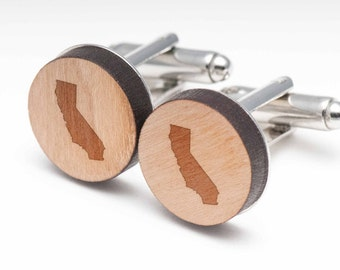 California Wood Cufflinks Gift For Him, Wedding Gifts, Groomsman Gifts, and Personalized