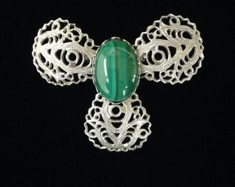 Vintage Malachite and Silver Filigree Brooch-Vintage Malachite Jewellery