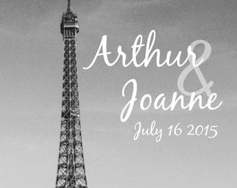 Customized backdrop Wedding Paris # 2-Photo booth back drop-Eiffel Tower-photo booth background Eiffel Tower